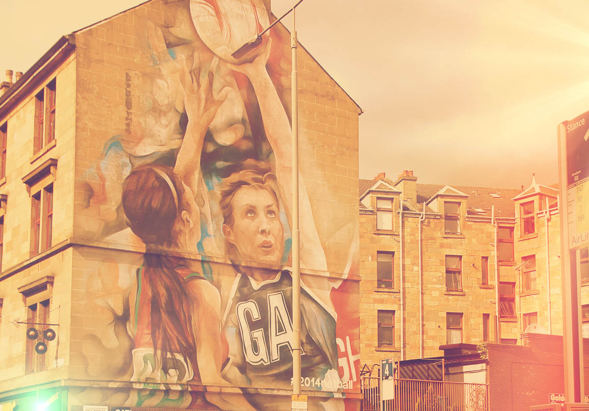 The 2014 Games netball mural directly outside the station