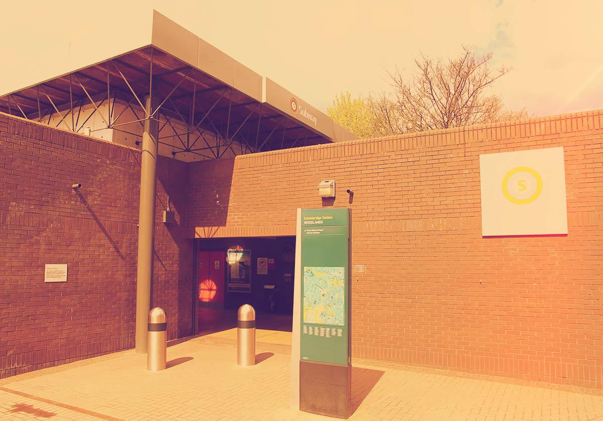 The entrance to Kelvinbridge Station - a little closer this time