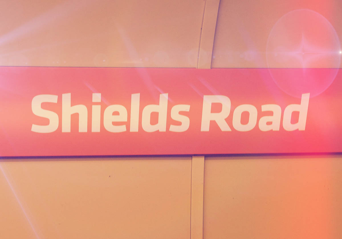 The outer circle name sign at Shields Road Station