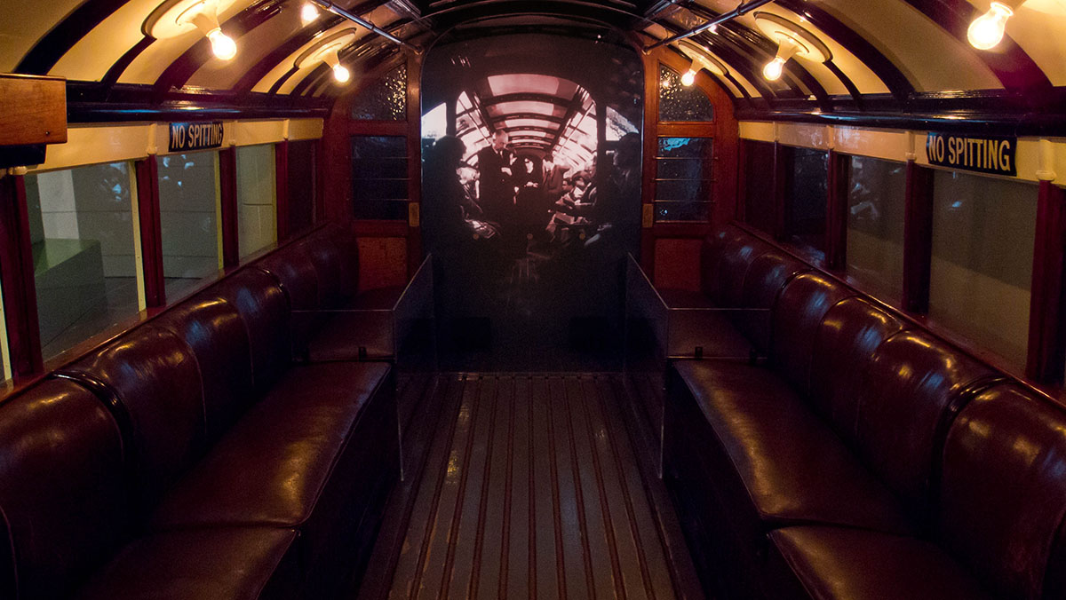 The inside of a 70s Subway carriage