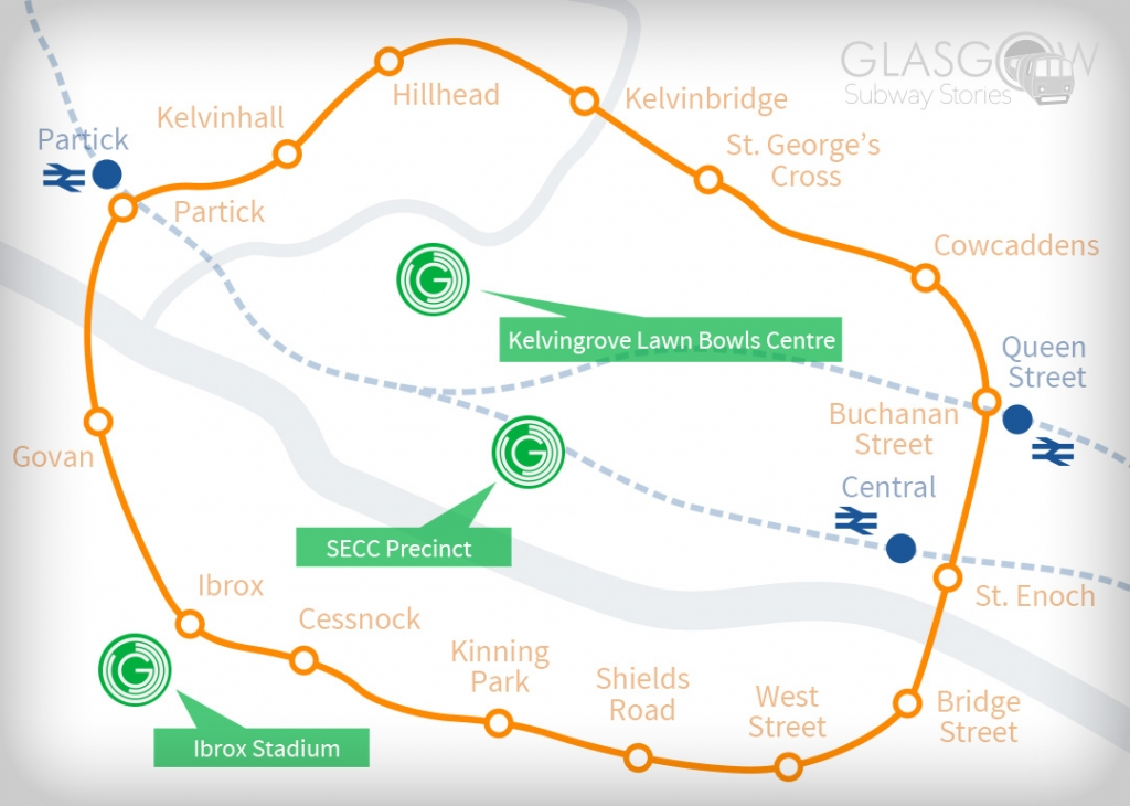 A map of Commonwealth Games venues and the Glasgow Subway