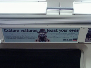 Shot of the Culture Vulture Timeout advert on a subway train
