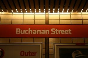Buchanan Street subway platform sign
