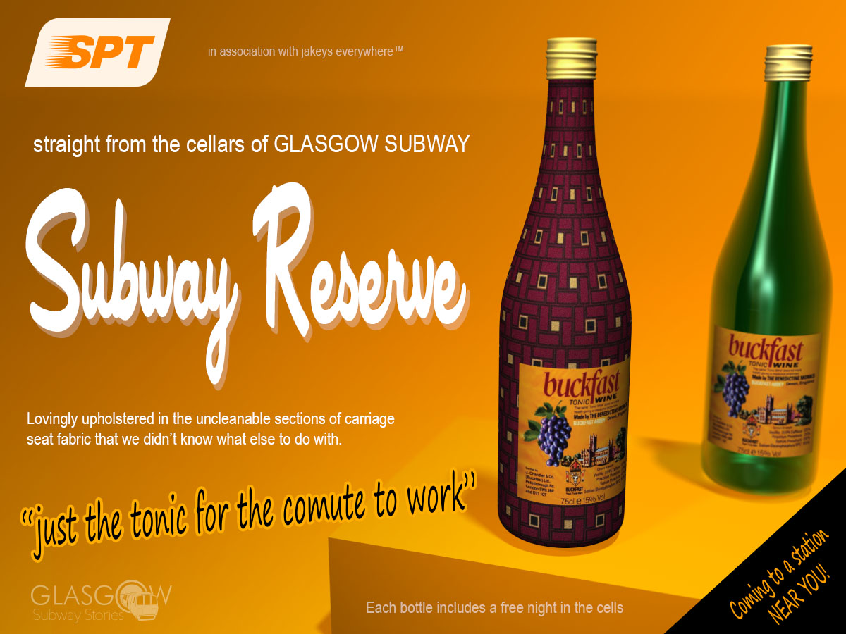Glasgow Subway Buckfast Bottle